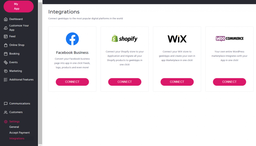 geekApps is integrated with Shopify